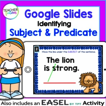 Google Classroom Activities SUBJECT & PREDICATE Digital Task Cards