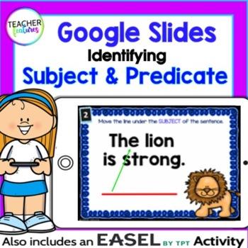 Google Classroom Activities SUBJECT & PREDICATE Digital Lessons 2nd & 3rd grade