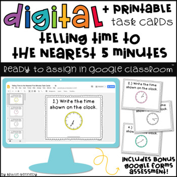 Digital Task Cards for Google Classroom: Telling Time to the Nearest 5 Minutes