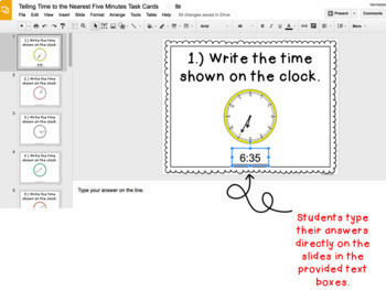Digital Task Cards for Google Classroom™: Telling Time to the Nearest 5 Minutes