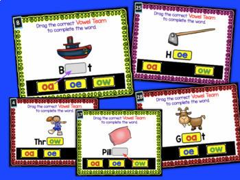 Digital Task Cards for Google Classroom: Vowel Teams BUNDLE