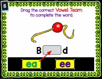 Digital Task Cards for Google Classroom: Vowel Teams IE, EA, EE, EY, Y