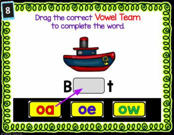 Digital Task Cards for Google Classroom Vowel Teams: oa, ow, oe
