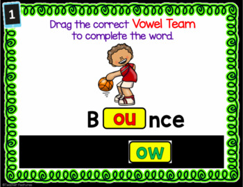 Digital Task Cards for Google Classroom Vowel Teams ou, ow, au, aw