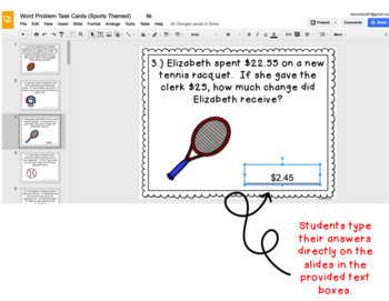 Digital Task Cards for Google Classroom: Word Problems