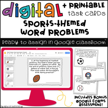 Digital Math Task Cards for Google Classroom™: Word Problems