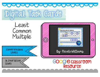Digital Task Cards for Google Drive- Finding Least Common Multiple
