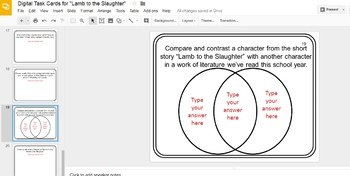 """Digital Task Cards for """"Lamb to the Slaughter"""" by Roald Dahl (Google Drive)"""