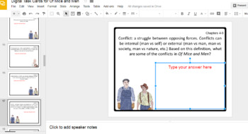 Digital Task Cards for Of Mice and Men by John Steinbeck (Google Drive Edition)