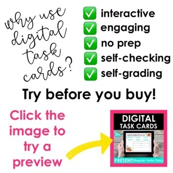 Digital Task Cards for Regular Present Tense Verbs | Spanish | Distance Learning
