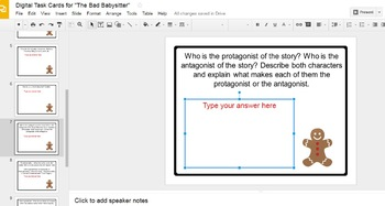 "Digital Task Cards for ""The Bad Babysitter"" by R.L. Stine (Google Drive Edition)"