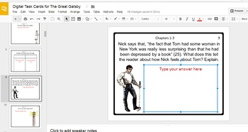 Digital Task Cards for The Great Gatsby by F. Scott Fitzgerald (Google Drive)
