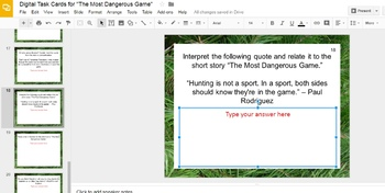 """Digital Task Cards for """"The Most Dangerous Game"""" by Richard Connell (Google)"""