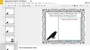 """Digital Task Cards for """"The Raven"""" by Edgar Allan Poe (Google Drive Edition)"""