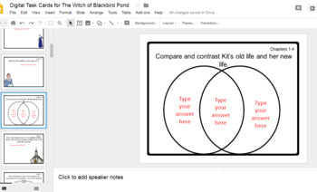 Digital Task Cards for The Witch of Blackbird Pond (Google Drive Edition)