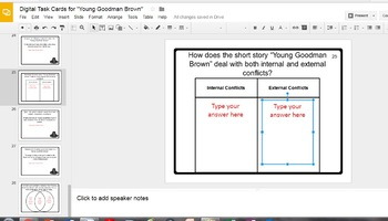 "Digital Task Cards for ""Young Goodman Brown"" by Nathaniel Hawthorne Google Drive"
