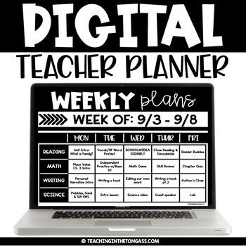 Digital Planner Google (Digital Teacher Planner Editable)