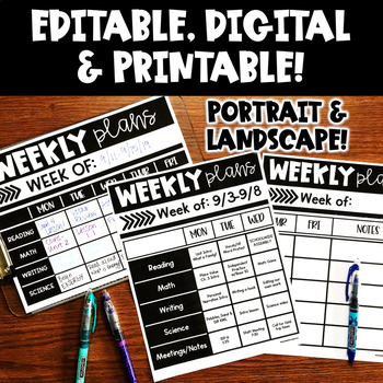 Digital Teacher Planner Editable   Lesson Plan Template