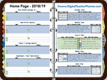 Digital Teacher Planner - 2018/19 Academic Year (Interactive)