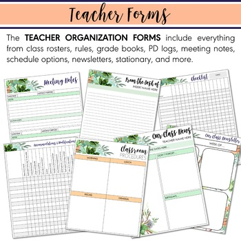 Digital Teacher Planner 2019-2020 Mint Coral Watercolor Succulent (Google Drive)