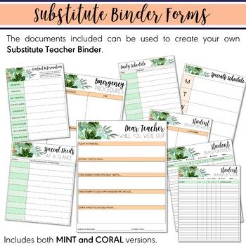 Digital Teacher Planner 2020-2021 Mint Coral Watercolor Succulent (Google Drive)