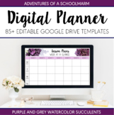 Digital Teacher Planner 2019-2020 Purple Watercolor Succul