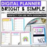Digital Teacher Planner 2020-2021 | Bright & Simple | Editable