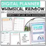Digital Teacher Planner 2020-2021 | Whimsical Rainbow | Editable