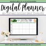 Digital Teacher Planner 2021-2022 Mint Coral Watercolor Succulent (Google Drive)