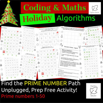 Unplugged Coding Algorithms / Maths Prime Numbers 1 - 50 Holiday Theme