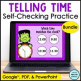 Digital Telling Time Practice BUNDLE Halloween Edition