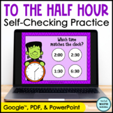 Digital Telling Time to the Hour and Half Hour Practice Ha