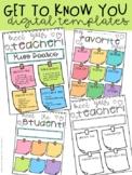Digital Templates (Meet the Teacher, Meet the Student, My Favorite Things)