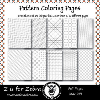 Digital Tessellation Coloring Book -  Full Page Patterns - Set 2