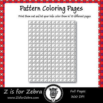 Digital Tessellation Coloring Book -  Full Page Patterns - Set 3