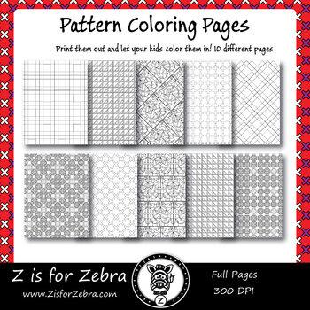 Digital Tessellation Coloring Book -  Full Page Patterns - Set 3