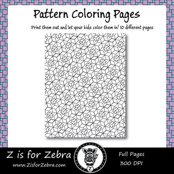 Digital Tessellation Coloring Book -  Full Page Patterns - Set 4