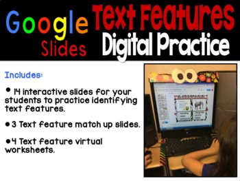Digital Text Features Practice ~ Google Slides™
