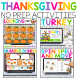 Digital Thanksgiving Activities for Math & Reading & Writi