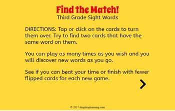 DIGITAL Sight Word Matching Game - 3rd Grade