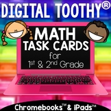 Digital Math Toothy® Task Cards Bundle | 1st & 2nd Grade | Distance Learning
