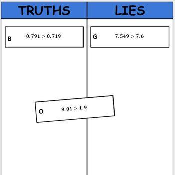 Digital Truths and Lies - Compare Decimals (5.NBT.3b)