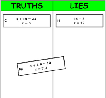Digital Truths and Lies - Solve One-Step Equations (6EE7)