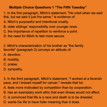 Digital Close Reading Assessment 3 Tuesdays With Morrie ISTEP 10 Prep