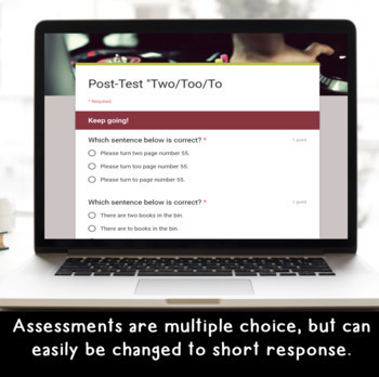 Digital Two/Too/To SELF-GRADING Assessments for Google Classroom