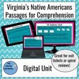 Digital Unit 2 Native Americans VA Studies Passages Reading Comprehension