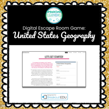 Digital United States Geography Escape Room / Breakout Game