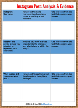 Digital Version: The Giver Instagram Character Trait Activity: CCSS, Student Ex.