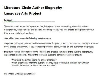 Digital Video Project - Literature Circle Author Biography with Rubric!