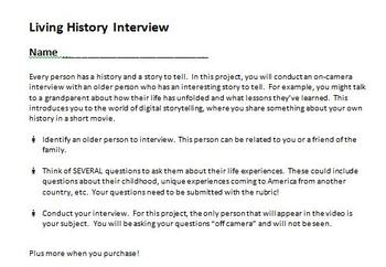 Digital Video Project - Living History Interview with Rubric!